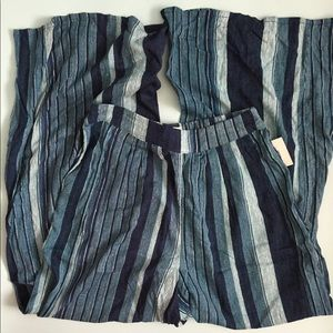 Navy Urban Outfitters Striped Pilazzo Pants NWT